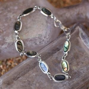 Jewelry - Abalone and silver metal bracelet
